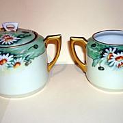 Vintage German Porcelain Sugar Bowl And Creamer