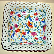 Vintage Colorful German Candy Dish With Open Lattice Border