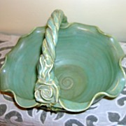 Vintage Matte Green Fulper Vase With Twisted Handle And A rose