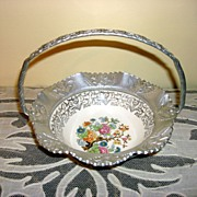 Farber & Shlevin Aluminum/China Candy Dish Basket