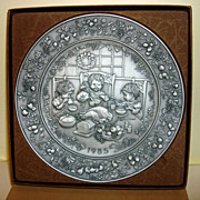 SOLD 1985 Hallmark Christmas Pewter Plate With Box