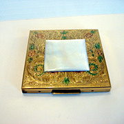 Vintage American Beauty Gold Tone Compact With MOP