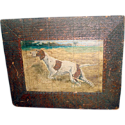 SOLD Early Folk Art - Hand Painted Retreiver On Wooden Board