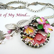 SOLD Royal Hibiscus ~ Out of My Mind Collage Necklace