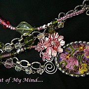 SOLD Spring Captured ~ Out of My Mind Collage Necklace