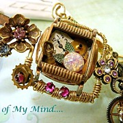 SOLD Time in a Bottle ~ Out of My Mind Collage Necklace