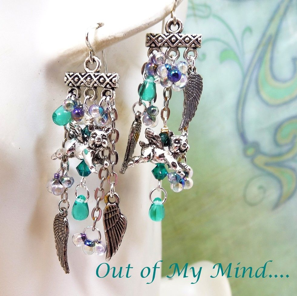 Flying Pigs ~ Out of My Mind Asymmetrical Earrings