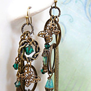 SOLD Emerald Brass ~ Out of My Mind Asymmetrical Earrings