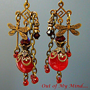 SOLD Ruby Dragonfly  ~ Out of My Mind Earrings