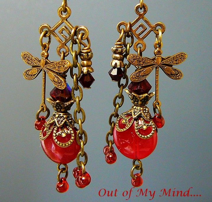 Ruby Dragonfly  ~ Out of My Mind Earrings