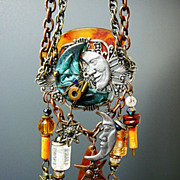 SOLD Man in the Moon ~ Out of My Mind Assemblage Necklace