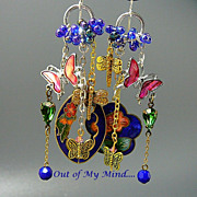 SOLD Vintage Gardens II - Out of  My Mind Asymmetrical Earrings