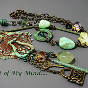 SOLD Industrial Elegance III - Out of My Mind Assemblage Necklace