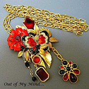 SOLD Crimson Gardens - Out of My Mind Collage Necklace