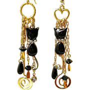 SOLD Cat About Town - Out of My Mind Asymmetrical Earrings