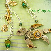 SOLD Clockwork Sea Turtle ~ Out of My Mind Assemblage Necklace
