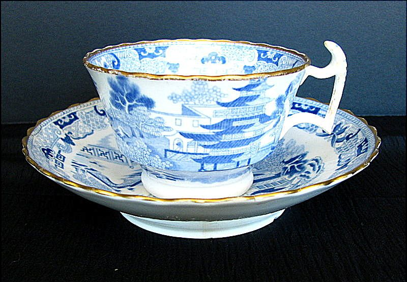 Spode Cup & Rathbone Saucer, Two Temples II, Broseley, Antique c 1820