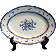 "Arabia of Finland Platter, Large Oval, Blue & White, ""Finn Flower Blue"" Pattern"