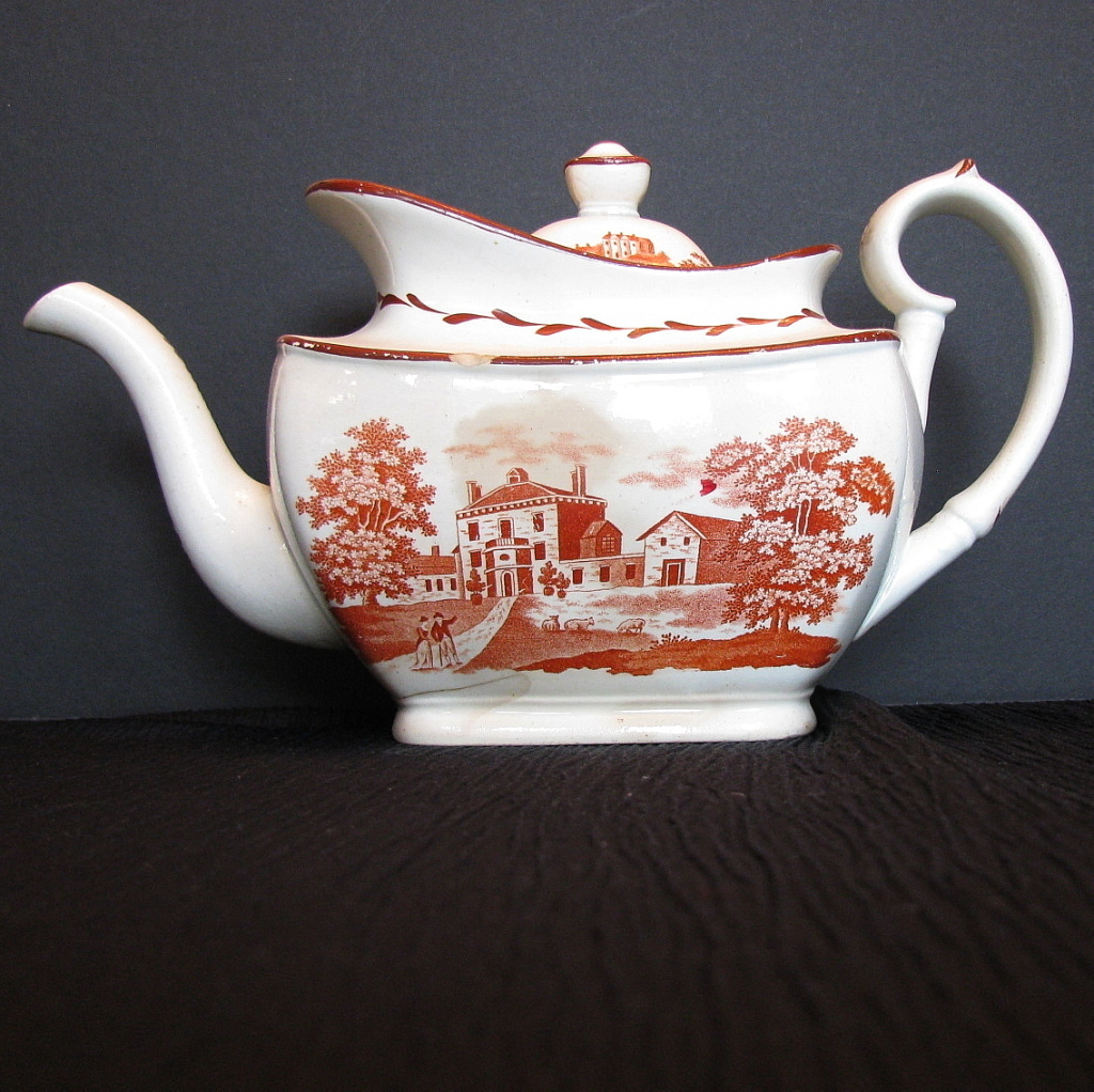 English Teapot Orange Bat Print Antique Staffordshire C