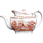 English Teapot, Orange Bat Print,  Antique Staffordshire c 1820
