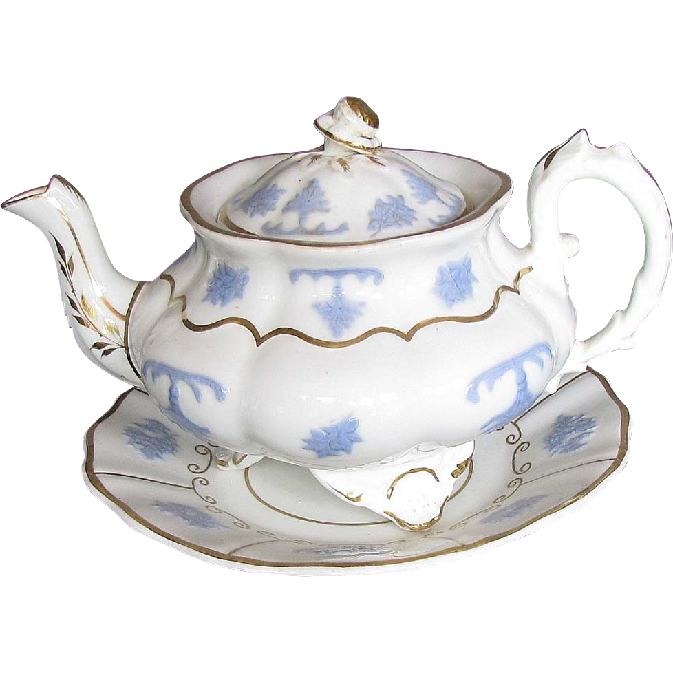 """English Teapot & Teapot Stand,  """"Chameleon Group"""", Lilac Sprigs,  3 Feet,  Antique 19th C"""