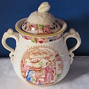 Sugar Bowl, English Chinoiserie,  Mongol Huntsman, Antique 19th C