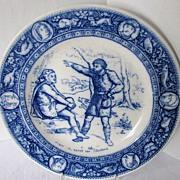 SALE PENDING Wedgwood Plate, Flow Blue Ivanhoe Transferware Series, Wamba & Gurth the Swineher