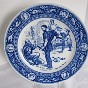 Wedgwood Plate,  Flow Blue Ivanhoe Transferware Series, Front de Boeuf  Extorting Silver from