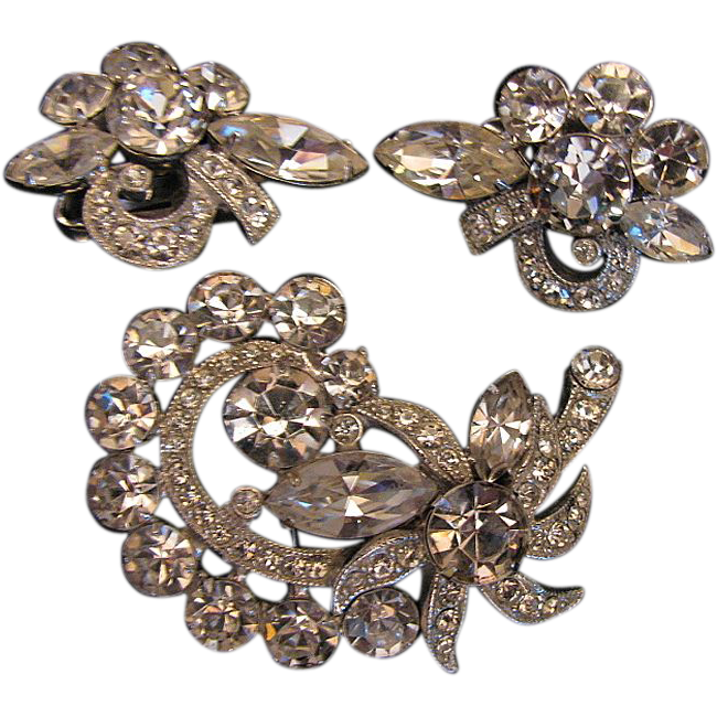 Eisenberg Ice  Demi Parure Clear Brooch & Earring  Set, Vintage