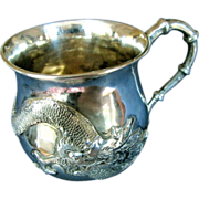 Chinese Export Silver Mug or Christening Cup, Zee Sung, Dragon in Relief, Vintage