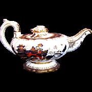 SALE Rare C.J.  Mason Bone China Teapot,  Blue, Red & Gilt, Chinoiserie, Antique c 1835