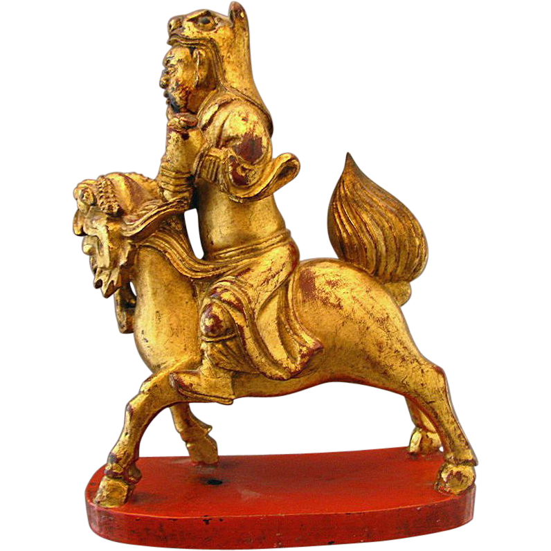 Chinese Taoist Wood Carving, Lacquered,  Immortal Astride Qilin, Inscribed,  Antique 19th C