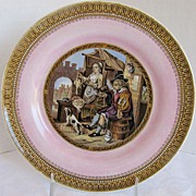 "SALE F&R Pratt Plate, Pink Ground, ""The Poultry Woman""  Antique 19th C English"