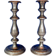 Pewter Candlesticks, Pair, Antique 19th C American