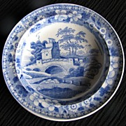 Spode Toy Plate,  Antique 19th C, Blue Tower