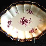 Royal Worcester Bowl, Cobalt, Gold, & Puce, Antique 19th C