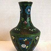 Japanese Cloisonne Vase with Ginbari, Small, Antique Meiji Era