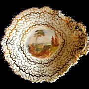 English Dessert Dish, Handpainted Landscape, Antique 19th C Porcelain