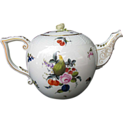 Herend Fruits and Flowers Teapot,  Rare Colossal 20 Cup Size, Vintage