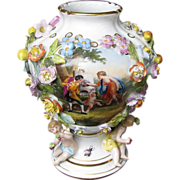 Carl Thieme Vase, Flower Encrusted, 3 Putti,  Antique 19th C Dresden  Porcelain