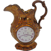 Rare Copper Lustre Jug, Clock Face & Chinoiserie Scene, 19th C English/Welsh