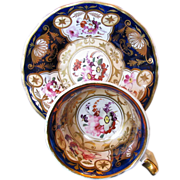 Yates Bone China Cup & Saucer,  Flowers, Blue, Gold, Antique 19th C English