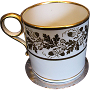 Barr Worcester Coffee Can, Ring Handle, Gilt Acorns, Incised B, Antique c1805