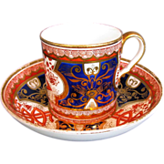 Spode Cup & Saucer, Coffee Can, Dollar Pattern, Antique English Imari, c 1805
