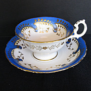 "Samuel Alcock Cup & Saucer, ""Rustic Bean"" Handle, Antique Porcelain c 1840"