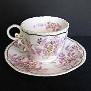 John Rose Coalport Cup & Saucer, Pink & Gold, Antique 19th C