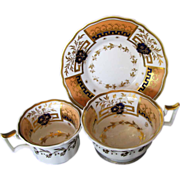 Rare John Yates Trio: Tea & Coffee Cups + Saucer, Antique English Porcelain c 1825