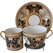 Early Spode Trio: Tea Cup, Coffee Can & Saucer, Dollar Pattern, Antique 19th C