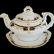 Davenport Teapot & Stand, Cobalt  & Gold, Bone China, Antique 19th C