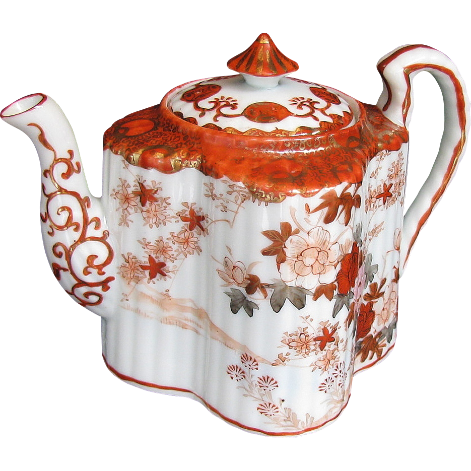 Kutani teapot fluted quatrefoil shape with infuser antique japanese from owensantiques on ruby - Japanese teapot with infuser ...